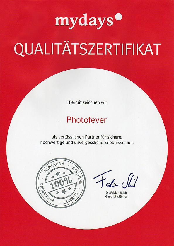 MyDays Qualitätszertifikat Photofever