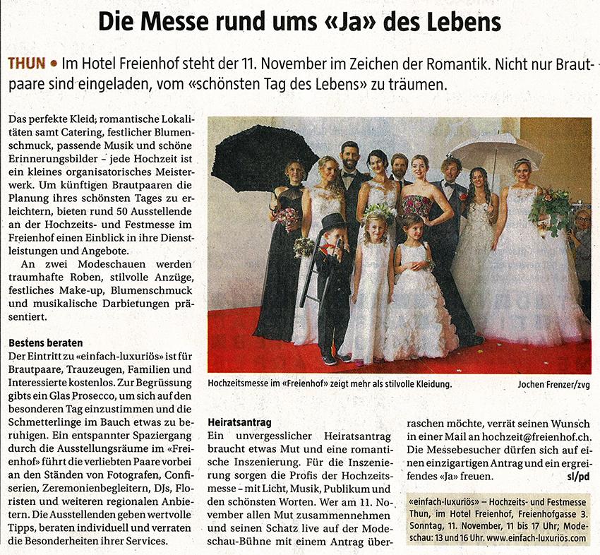 Berner Landbote – Schöne Erinnerung an die Hochzeitsmesse 2017